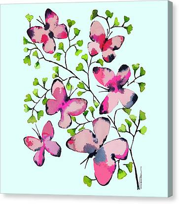 Pink Profusion Butterflies Canvas Print by Roleen Senic