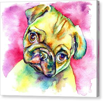 Pink Pug Canvas Print by Christy  Freeman