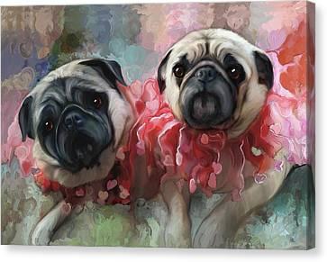 Pink Pug Princesses On Parade Canvas Print by Elizabeth Murphy