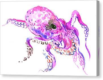Octopus Canvas Print - Pink Purple Octopus by Suren Nersisyan
