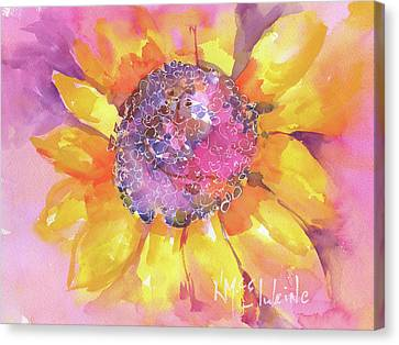 Pink Purple Yellow Sunflower  Canvas Print by Kathleen McElwaine