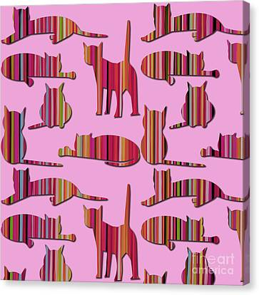 Canvas Print featuring the mixed media Pink Pussy Cat by Carla Bank