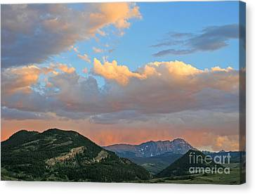 Pink Rain Over The Sleeping Indian Canvas Print by Paula Guttilla