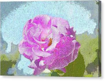 Pink Rose Against Blue Sky IIi Artistic Canvas Print by Linda Brody