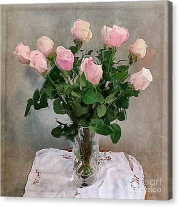 Canvas Print featuring the digital art Pink Roses by Alexis Rotella