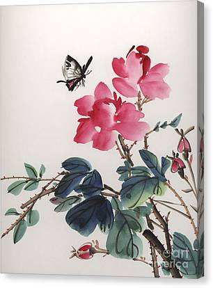 Pink Roses And Butterfly Canvas Print