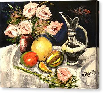 Pallet Knife Canvas Print - Pink Roses And Fruits by Bobbie Roberts