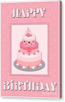 Canvas Print featuring the digital art Pink Roses Birthday Cake by JH Designs