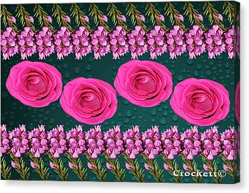 Canvas Print featuring the photograph Pink Roses Floral Display by Gary Crockett