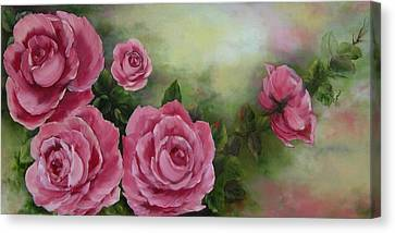 Pink Roses Canvas Print by Joni McPherson