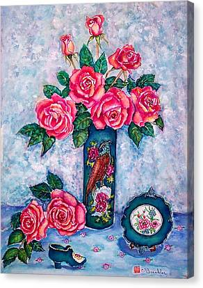 Pink Roses Canvas Print by Norma Boeckler