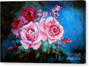 Pink Roses On Blue Canvas Print by Jenny Lee
