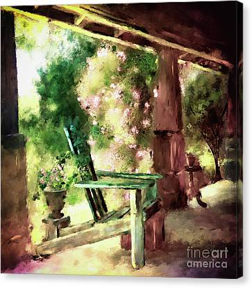 Canvas Print featuring the digital art Pink Roses On The Porch by Lois Bryan