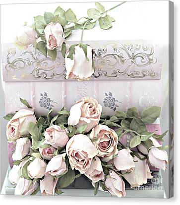 Canvas Print featuring the photograph Pink Shabby Chic Roses On Pink Cottage Books - Shabby Cottage Pink Roses Home Decor by Kathy Fornal