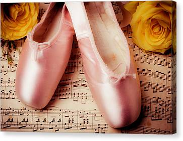 Dance Ballet Roses Canvas Print - Pink Slippers And Roses by Garry Gay