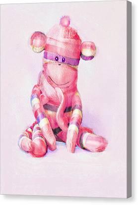 Pink Sock Monkey Canvas Print by Jane Schnetlage