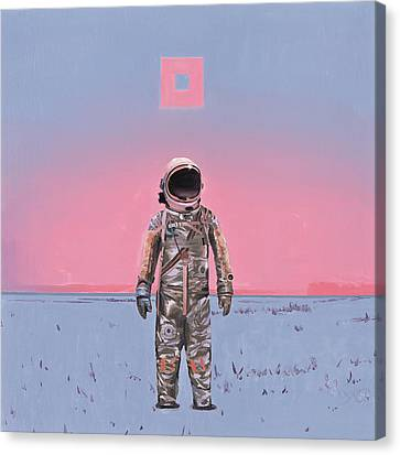 Astronauts Canvas Print - Pink Square by Scott Listfield