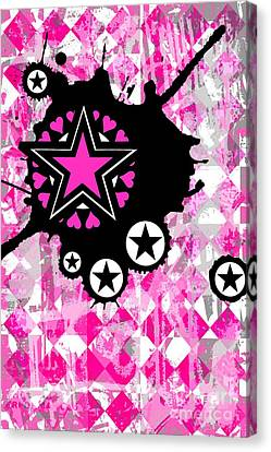 Pink Star Splatter Canvas Print