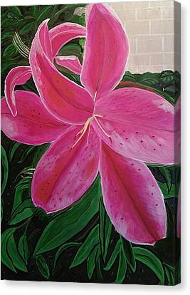 Pink Stargazer Lily Canvas Print by Diann Blevins