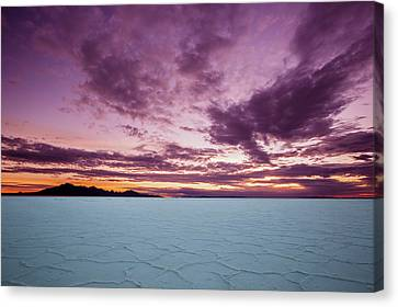 Salt Flats Canvas Print - Pink Sunrise by Edgars Erglis