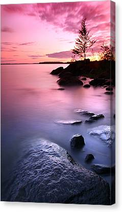 Pink Sunset On Finnish Lake Canvas Print by Sandra Rugina