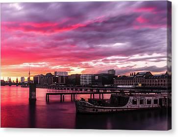 Pink Sunset Over Berlin Canvas Print
