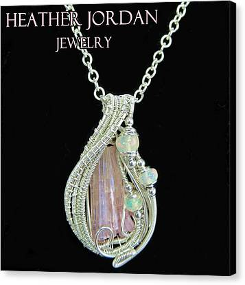 Pink Tourmaline And Sterling Silver Wire-wrapped Pendant With Ethiopian Welo Opals Ptrmpss1 Canvas Print by Heather Jordan