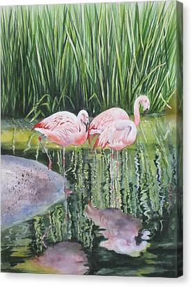 Canvas Print featuring the painting Pink Trio by Mary McCullah