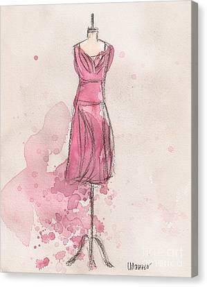 Loose Watercolor Canvas Print - Pink Tulip Dress by Lauren Maurer