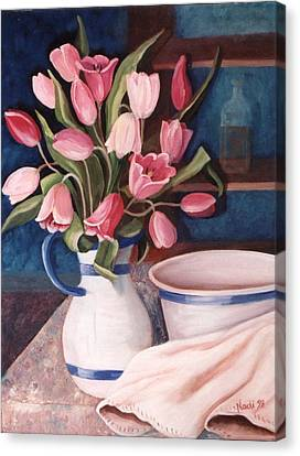 Canvas Print featuring the painting Pink Tulips by Renate Nadi Wesley
