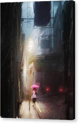 Pink Umbrella Canvas Print by H James Hoff