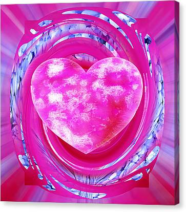 Pink Valentine Heart Canvas Print by rd Erickson