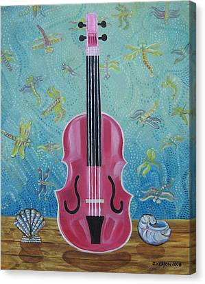 Pink Violin With Fireflies And Shells Still Life Canvas Print by John Keaton