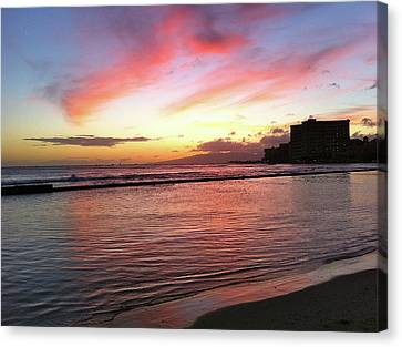 Pink Waikiki Sunset Canvas Print by Erika Swartzkopf