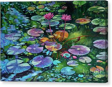Pink Water Lilies And Lily Pads Canvas Print