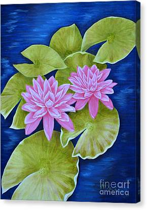 Pink Water Lilies Canvas Print by Mary Deal