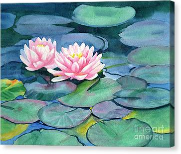 Pink Water Lilies With Colorful Pads Canvas Print