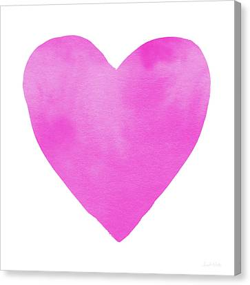 Pink Watercolor Heart- Art By Linda Woods Canvas Print by Linda Woods