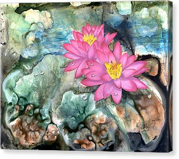 Canvas Print featuring the painting Pink Waterlily by Sherry Shipley