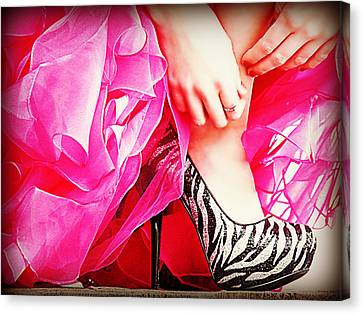 Pink Zebra Canvas Print by Corrie Knerr