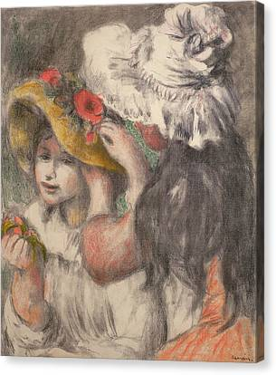 Youthful Canvas Print - Pinning The Hat by Pierre Auguste Renoir