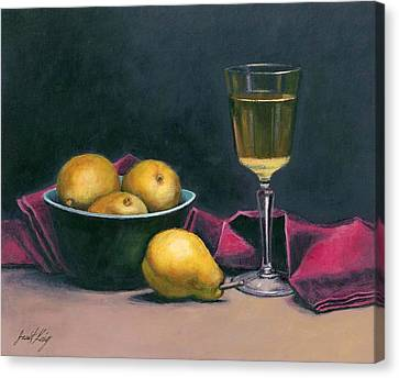 Pinot And Pears Still Life Canvas Print by Janet King