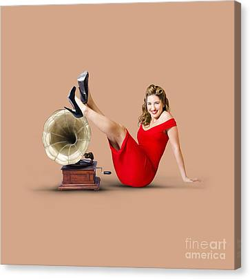 Pinup Girl In Red Dress Playing Classical Music Canvas Print