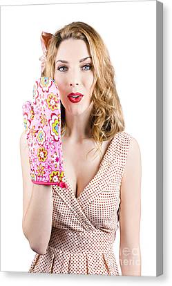 Pinup Girl With Cookery Secrets And Handy Tips Canvas Print