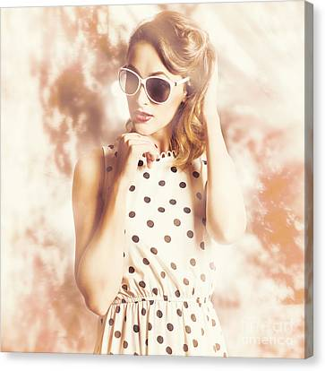 Wavy Canvas Print - Pinup Golden Girl With Perfect Makeup And Hair by Jorgo Photography - Wall Art Gallery
