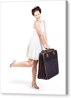 Pinup Model Doing A Hop And Skip With Travel Case Canvas Print by Jorgo Photography - Wall Art Gallery