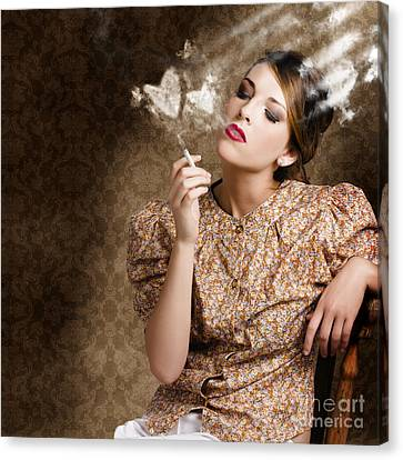 Pinup Portrait Of A Smoking Woman Blowing Hearts Canvas Print by Jorgo Photography - Wall Art Gallery