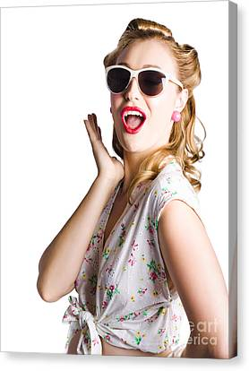 Pinup Shouting Out Loud Canvas Print by Jorgo Photography - Wall Art Gallery