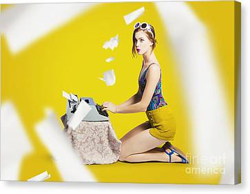 Pinup Typist Writing Story On Typewriter Canvas Print by Jorgo Photography - Wall Art Gallery