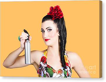 Pinup Woman Holding A Cleaning Spray Bottle Canvas Print by Jorgo Photography - Wall Art Gallery